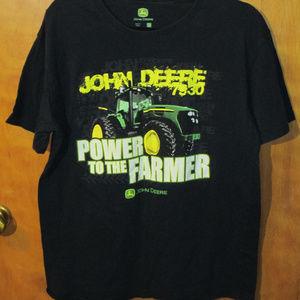 John Deere Tractor Graphic Black Shirt L